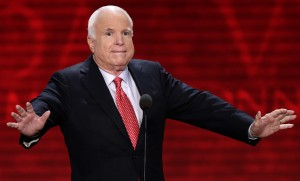Sen. John McCain, R-Ariz., reacts to the delegates during the Republican National Convention in Tampa, Fla., on Wednesday, Aug. 29, 2012. (AP Photo/J. Scott Applewhite)